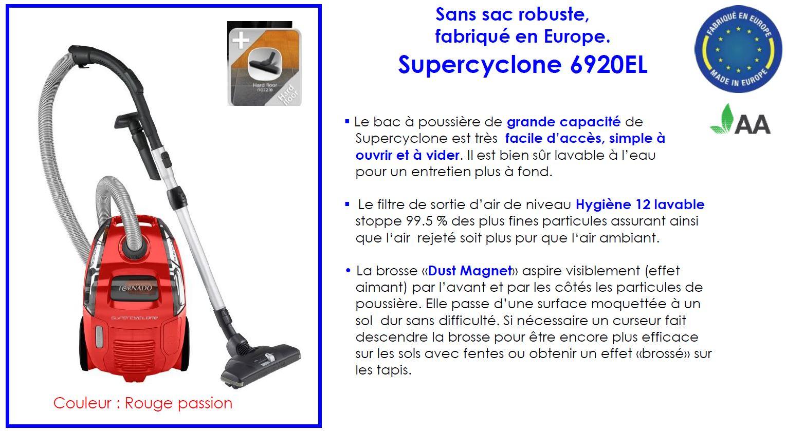 Tornado to6920el supercyclone aspirateur traineau sans sac rouge 1400 w cuisine maison - Tornado aspirateur sans sac ...