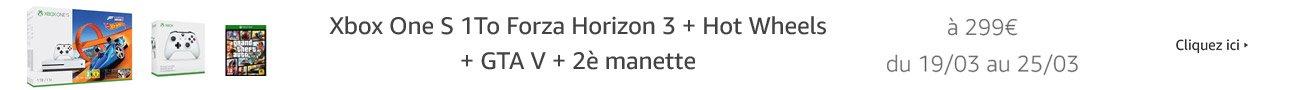 Xbox One S 1To Forza Horizon 3 + Hot Wheels + GTA V + Manette Xbox Sans Fil