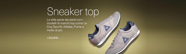 Sneaker top. Lo stile parte dai piedi con i modelli di marchi top come Le Coq Sportif, Adidas, Puma e molto di più