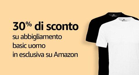 30% di sconto su abbigliamento basic uomo in esclusiva su Amazon
