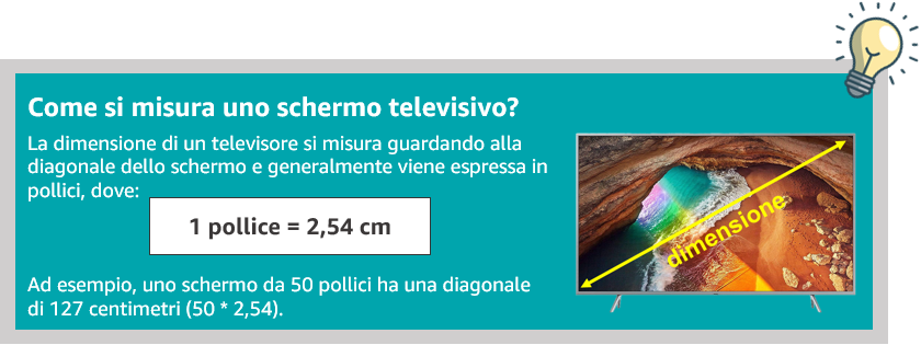 Come si misura lo schermo televisivo? Si misura in pollici, dove 1 pollice è uguale a 2.54 centimetri.