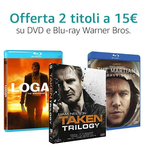 Offerta 2X15 Warner Bros. DVD e Blu-ray