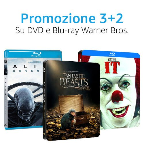 Offerta 3+2 DVD e Blu-ray Warner Bros.