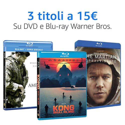 Offerta 3x15 DVD e Blu-ray Warner Bros.