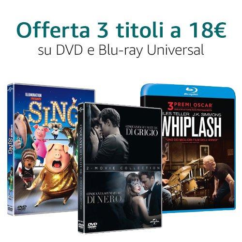 Offerta 3X18 Universal DVD e Blu-ray