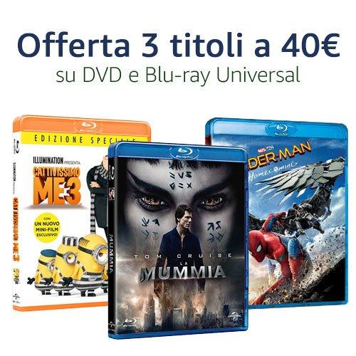 Offerta Universal Blu-ray e DVD: 3 titoli a 40€