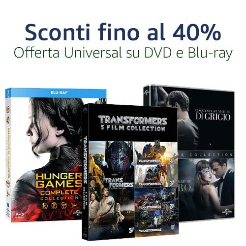Offerta Universal Blu-ray e DVD: Titoli fino al 40% di sconto