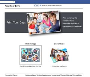 L'applicazione Print Your Days consente di stampare foto direttamente da Facebook