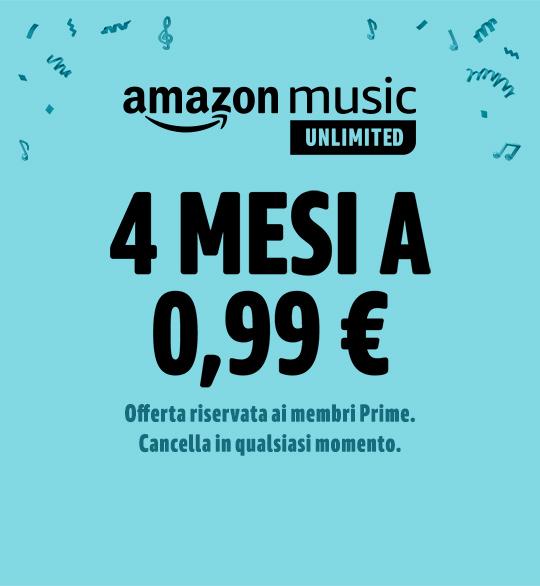 4 mesi a 0,99€ Offerta a tempo limitato Offerta riservata ai clienti Amazon Prime. Vedi condizioni.