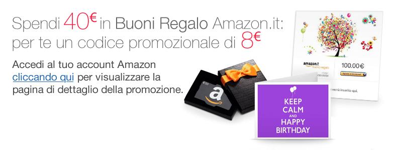 Spendi 40 euro in Buoni Regalo Amazon.it: per te un codice promozionale di 8 euro