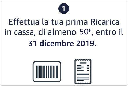 Effettua la tua prima Ricarica in Cassa, di almeno 50€, entro il 31 dicembre 2019.