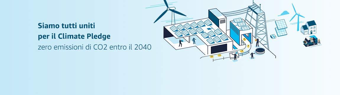 Siamo tutti uniti per The Climate Pledge. Zero emissioni di carbonio entro il 2040.