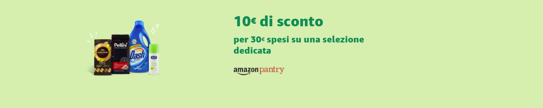 Amazon Pantry: 10€ di sconto per 30€ spesi su una selezione dedicata