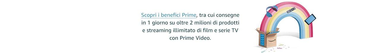 Scopri i benefici Prime, tra cui consegne in 1 giorno su oltre 2 milioni di prodotti e streaming illimitato di film e serie TV con Prime Video.