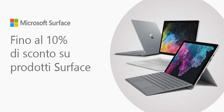 Fino al 10% di sconto su Microsoft Surface