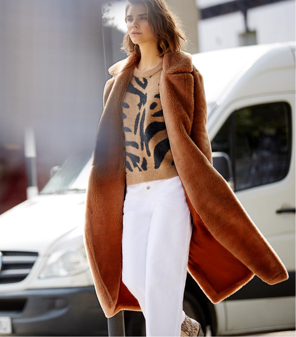 FIND Longline Teddy Coat Chaqueta Mujer