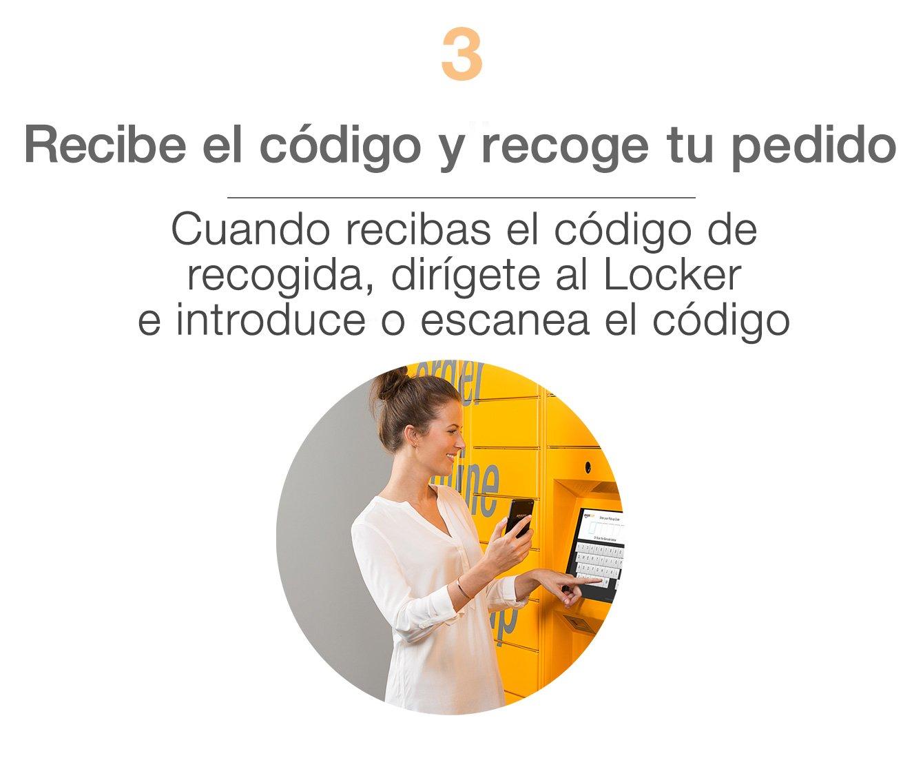 Recibe el código y recoge tu pedido Cuando recibas el código de recogida, dirígete al Amazon Locker e introduce o escanea el código