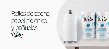 Rollos de cocina, papel higiénico y pañuelos Presto!