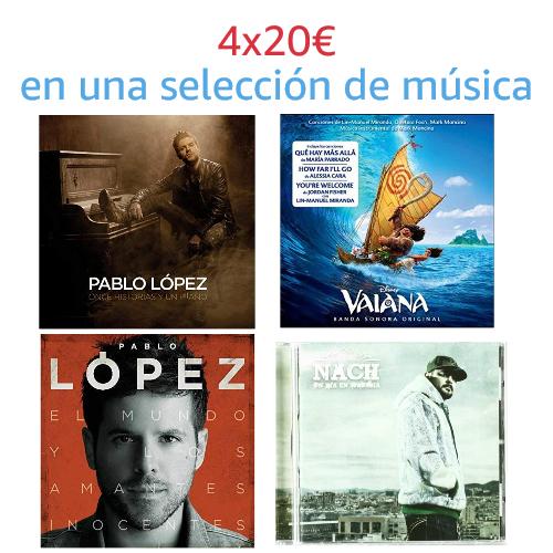 4x20€ en una selección de música
