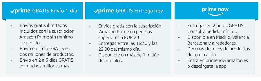 Con Amazon Prime disfruta de GRATIS Envío 1 día, GRATIS Entrega hoy y Entrega en 2h con Prime Now