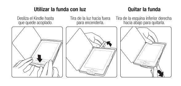 Funda de cuero con luz Amazon para Kindle, color negro (sólo sirve ...