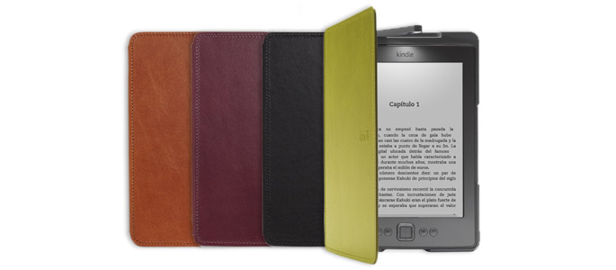 Funda de cuero con luz Amazon para Kindle, color marrón claro ...