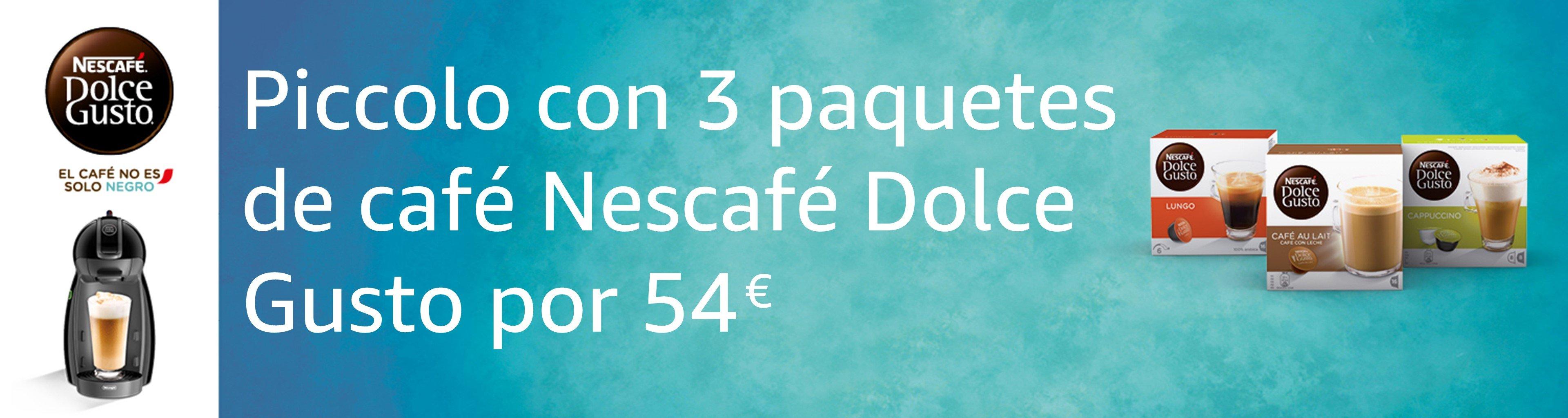 Dolce Gusto: Piccolo + 3 paquetes de Nescafé Dolce Gusto por 54€