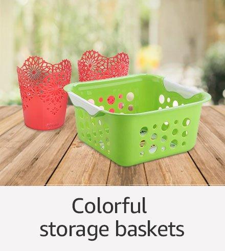 Colorful storage baskets