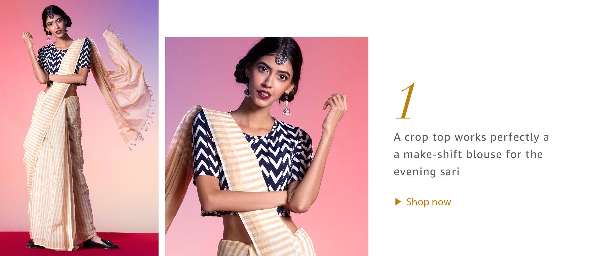 Crop Tops with Sarees