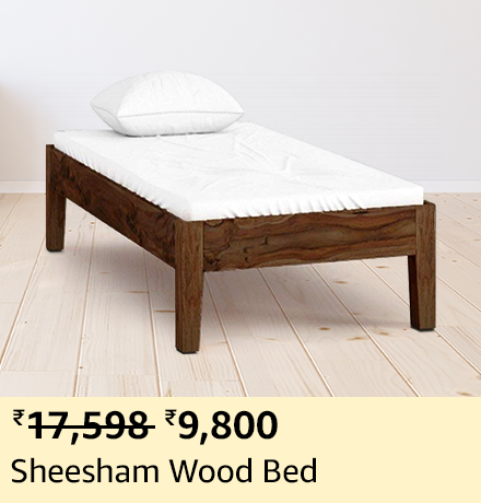 Ganpati Arts Sheesham Wood Single Size Bed for Bed and Living Room (Natural Finish)