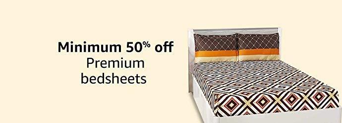 Minimum 50% off premium bedsheets
