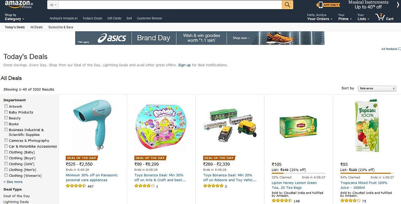Lightning deals on Amazon.in