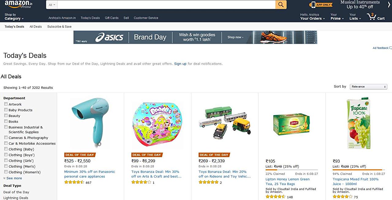 Lightning deals on Amazon.in
