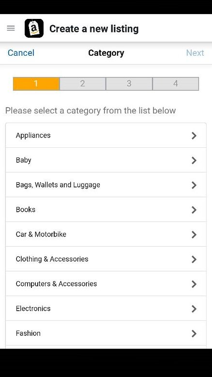 Select a category on the seller app