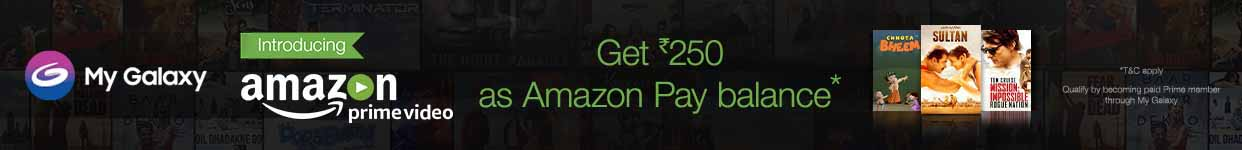 """Samsung Amazon Pay Balance Offer Get Rs.250 as Amazon Pay Balance on purchase of Amazon Prime Video subscription through Samsung My Galaxy App How to avail the offer:  Go to My Galaxy App on your Samsung mobile, click on the banner communicating the Samsung/Amazon Prime Video offer.  Sign in for Amazon Prime Video subscription on your Samsung Device using your existing Amazon account credentials or create a new account.  Customer will be able to purchase the Prime Video subscription after 30 days of free trial, in case the customer has already availed the free trial, they will be eligible to make immediate purchase of Prime Video subscription  Amazon will offer Rs.250 as Amazon Pay Balance within 30 days from purchase of Amazon Prime Video subscription.  Each customer is eligible to receive benefits only once, irrespective of the number of times he signs-in & watches Amazon Video. The offer is also applicable only once per device.  Customer will be eligible for Amazon Pay Balance only if purchase of Prime Video subscription is done within 90 days of completion of the free trial.  Additional Offer Terms & Conditions  This is a limited period offer. Please see full offer terms and conditions below.  This Samsung promotional offer (""""Offer"""") is provided by Amazon Seller Services Private Limited (""""Amazon"""") on the mobile application of www.primevideo.com (""""Mobile App"""").  These offer terms and conditions (""""Offer Terms"""") are in addition to the Amazon.in Conditions of Use & Sale to which you agree by using the Mobile App and the terms and conditions applicable for Amazon Pay Balance (""""Amazon Pay Balance Terms"""") issued by QwikCilver Solutions Private Limited (""""QwikCilver""""). To the extent the Amazon.in Conditions of Use & Sale are inconsistent with these Offer Terms; these Offer Terms will prevail with respect to the Offer only.  This Offer is valid for a period commencing from December 1, 2016 to November 30, 2017 (""""Offer Period""""), unless revoked or extended by Amazon.in in i"""