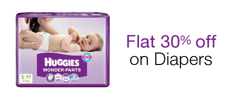 Get flat 30% off on Diapers.