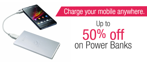 Get up to 50% off on Power-Banks from brands such as Eveready, Sony, Nokia and more.