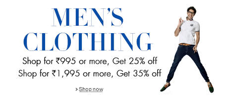 Shop for Rs.995 or more, Get 25% off. Shop for Rs.1,995 or more, Get 35% off.