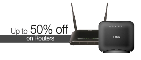 Get up to 50% off on Routers by D-Link, Netgear and more.