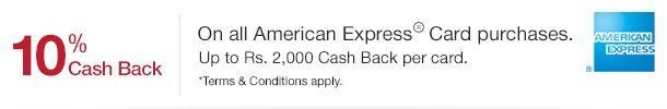 10% Cash Back on all American Express Card purchases