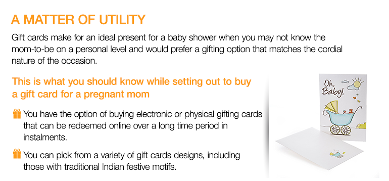 Baby shower gift guide amazon india gift ideas for a new mom to a matter of utility gift cards make for an ideal present for a baby shower when negle Image collections