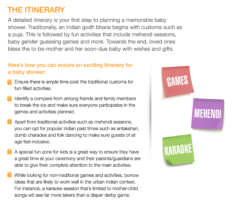 THE ITINERARY A Detailed Itinerary Is Your First Step To Planning A  Memorable Baby Shower.