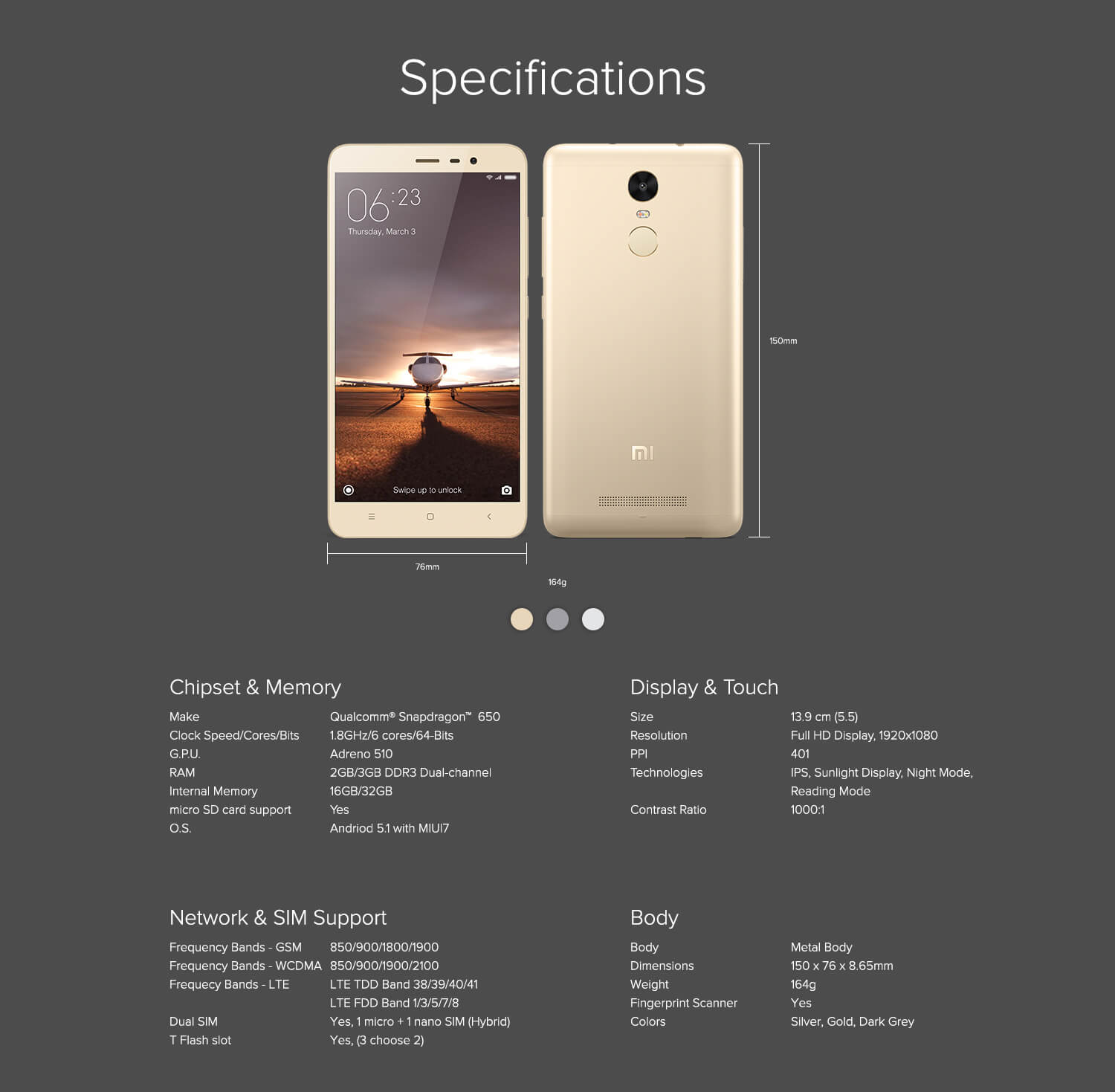 Redmi Tech Specifications