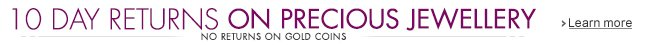 10 Days Returns on Precious Jewellery