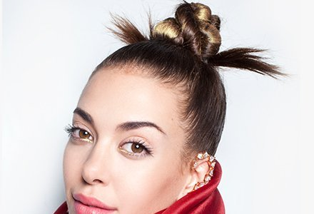 Top Bun: Add chic to your looks with a top bun, team it with a fruity lip.