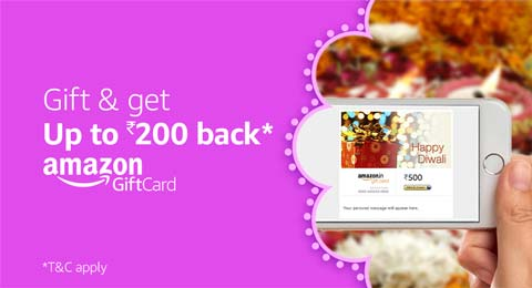 Gift and get up to Rs.200 back* | Amazon Gift Cards