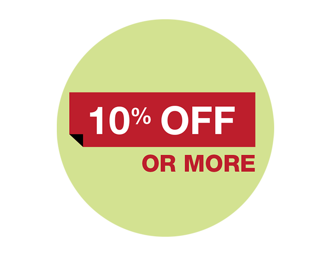 10% off or more