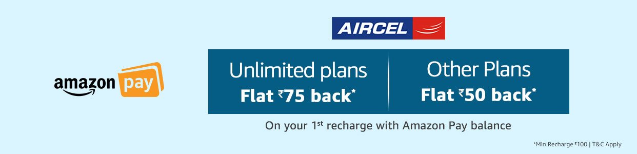 Aircel - Flat 75 back on your first recharge with Amazon Pay balance