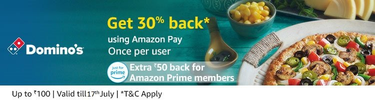 Dominos - Pay using amazon get 30% cashback + 50 Extra for prime members