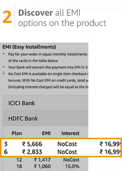 Select your No Cost EMI